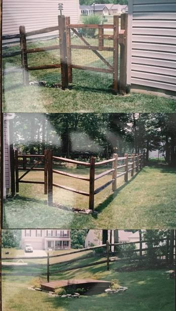 Perimeter fence and ornamental cedar bridges on the property of a private home.