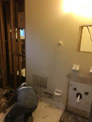 Remodeling the bathroom of home, involving demolition work in order to achieve upscale additions.