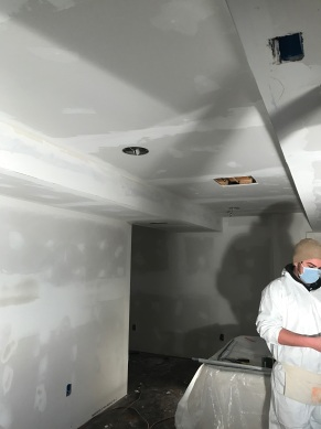Drywall work while finishing a home's basement.